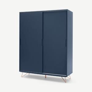 Elona kledingkast met schuifdeuren, donkerblauw en koper
