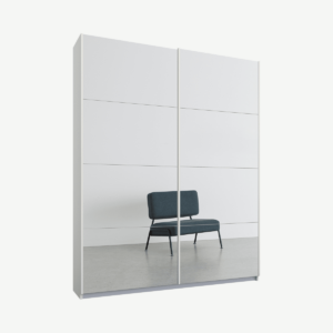 Malix tweedeurs kledingkast met schuifdeuren, 135 cm, wit frame, spiegeldeuren, klassiek interieur