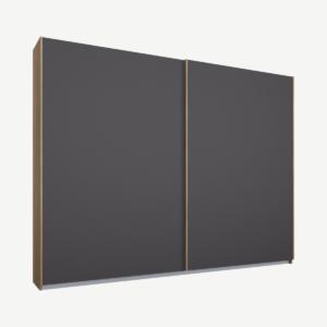 Malix tweedeurs kledingkast met schuifdeuren, 225 cm, eiken frame, mat grafietgrijze deuren, klassiek interieur