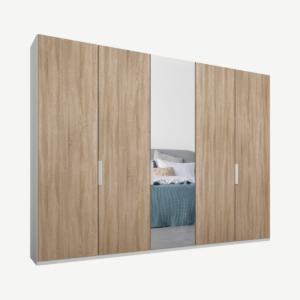 Caren vijfdeurs kledingkast met handvatten, 250 cm, wit frame, eiken en spiegeldeuren, premium interieur