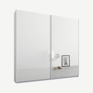 Malix tweedeurs kledingkast met schuifdeuren, 181 cm, wit frame, wit glas en spiegeldeuren, klassiek interieur