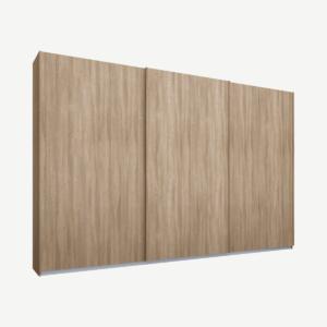 Malix kledingkast met 3 schuifdeuren, 270 cm eiken frame, eiken deuren, standaard binnenkant