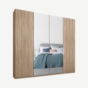 Caren vierdeurs kledingkast met handvatten, 200 cm, eiken frame, eiken en spiegeldeuren, klassiek interieur