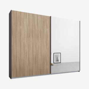 Malix tweedeurs kledingkast met schuifdeuren, 225 cm, grafietgrijs frame, eiken en spiegeldeuren, premium interieur