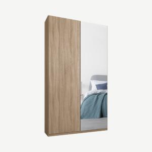 Caren tweedeurs kledingkast met handvatten, 100 cm, eiken frame, eiken en spiegeldeuren, standaard interieur