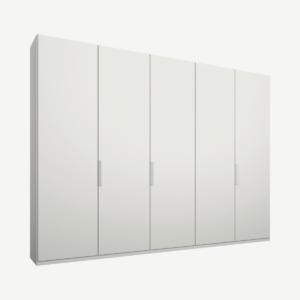 Caren Malix kledingkast met 5 deuren, 250 cm, wit frame, matte, witte deuren, standaard