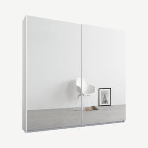 Malix tweedeurs kledingkast met schuifdeuren, 181 cm, wit frame, spiegeldeuren, premium interieur
