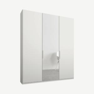 Caren driedeurs kledingkast met handvatten, 150 cm, wit frame, matwit en spiegeldeuren, premium interieur