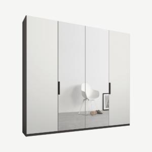 Caren Malix kledingkast met 4 deuren, 200 cm, grafietgrijs frame, mat wit en spiegeldeuren, standaard