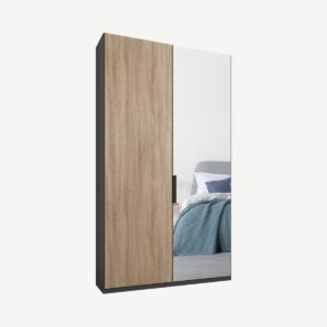 Caren tweedeurs kledingkast met handvatten, 100 cm, grafietgrijs frame, eiken en spiegeldeuren, klassiek interieur