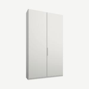 Caren tweedeurs kledingkast met handvatten, 100 cm, wit frame, matwitte deuren, premium interieur