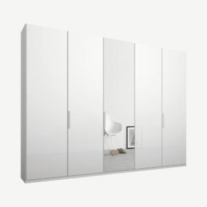 Caren Malix kledingkast met 5 deuren, 250 cm, wit frame, wit glas en spiegeldeuren, standaard