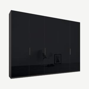 Caren vijfdeurs kledingkast met handvatten, 250 cm, grafietgrijs frame, basaltgrijze glazen deuren, klassiek interieur