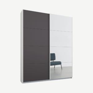 Malix tweedeurs kledingkast met schuifdeuren, 135 cm, wit frame, mat grafietgrijs en spiegeldeuren, klassiek interieur