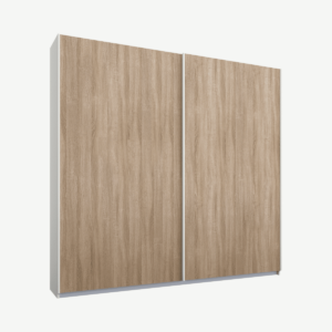 Malix tweedeurs kledingkast met schuifdeuren, 181 cm, wit frame, eiken deuren, klassiek interieur