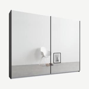 Malix kledingkast met 2 schuifdeuren, 225 cm, grafietgrijs frame, spiegeldeuren, standaard binnenkant