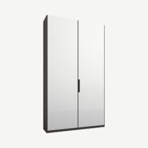 Caren tweedeurs kledingkast met handvatten, 100 cm, grafietgrijs frame, witte glazen deuren, standaard interieur