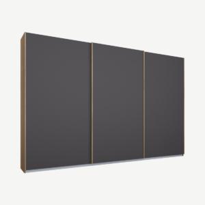Malix kledingkast met 3 schuifdeuren, 270 cm eiken frame, Matte Graphite Grey Doors, standaard binnenkant