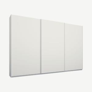 Malix driedeurs kledingkast met schuifdeuren, 270 cm, wit frame, matwitte deuren, premium interieur