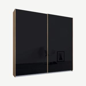 Malix tweedeurs kledingkast met schuifdeuren, 181 cm, eiken frame, basaltgrijze glazen deuren, premium interieur