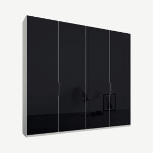 Caren vierdeurs kledingkast met handvatten, 200 cm, wit frame, basaltgrijze glazen deuren, klassiek interieur