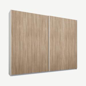 Malix tweedeurs kledingkast met schuifdeuren, 225 cm, wit frame, eiken deuren, premium interieur