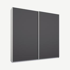 Malix tweedeurs kledingkast met schuifdeuren, 181 cm, wit frame, mat grafietgrijze deuren, standaard interieur