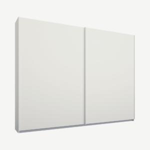 Malix tweedeurs kledingkast met schuifdeuren, 225 cm, wit frame, matwitte deuren, premium interieur