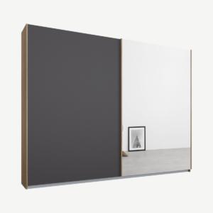 Malix kledingkast met 2 schuifdeuren, 225 cm, eiken frame, mat grafietgrijs en spiegeldeuren, standaard binnenkant