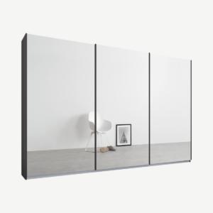 Malix kledingkast met 3 schuifdeuren, 270 cm grafietgrijs frame, spiegeldeuren, standaard binnenkant