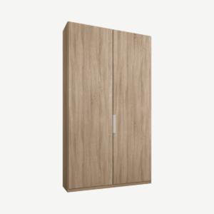 Caren tweedeurs kledingkast met handvatten, 100 cm, eiken frame, eiken deuren, premium interieur