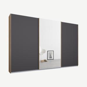 Malix driedeurs kledingkast met schuifdeuren, 270 cm, eiken frame, mat grafietgrijs en spiegeldeuren, klassiek interieur