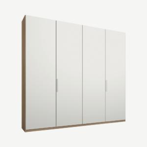 Caren vierdeurs kledingkast met handvatten, 200 cm, eiken frame, matwitte deuren, premium interieur