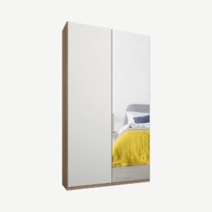 Caren tweedeurs kledingkast met handvatten, 100 cm, eiken frame, matwit en spiegeldeuren, klassiek interieur