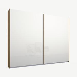 Malix tweedeurs kledingkast met schuifdeuren, 225 cm, eiken frame, witte glazen deuren, klassiek interieur