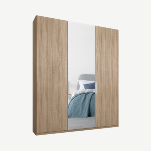 Caren driedeurs kledingkast met handvatten, 150 cm, eiken frame, eiken en spiegeldeuren, premium interieur
