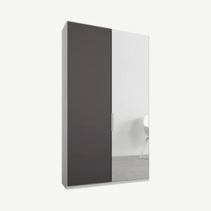 Caren tweedeurs kledingkast met handvatten, 100 cm, wit frame, mat grafietgrijs en spiegeldeuren, klassiek interieur