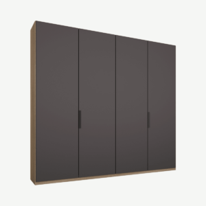 Caren vierdeurs kledingkast met handvatten, 200 cm, eiken frame, mat grafietgrijze deuren, klassiek interieur