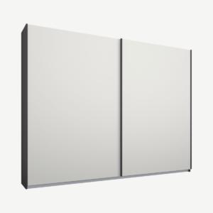 Malix tweedeurs kledingkast met schuifdeuren, 225 cm, grafietgrijs frame, matwitte deuren, klassiek interieur