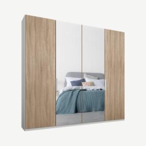 Caren vierdeurs kledingkast met handvatten, 200 cm, wit frame, eiken en spiegeldeuren, klassiek interieur