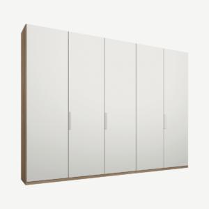 Caren Malix kledingkast met 5 deuren, 250 cm, eiken frame, matte, witte deuren, standaard