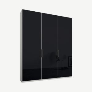 Caren driedeurs kledingkast met handvatten, 150 cm, wit frame, basaltgrijze glazen deuren, premium interieur