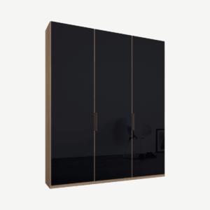 Caren driedeurs kledingkast met handvatten, 150 cm, eiken frame, basaltgrijze glazen deuren, standaard interieur