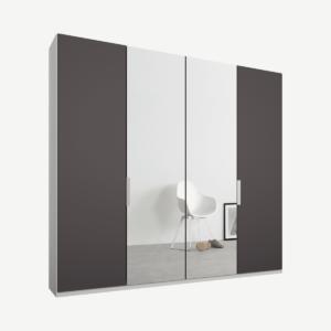 Caren vierdeurs kledingkast met handvatten, 200 cm, wit frame, mat grafietgrijs en spiegeldeuren, klassiek interieur