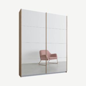 Malix tweedeurs kledingkast met schuifdeuren, 135 cm, eiken frame, spiegeldeuren, premium interieur