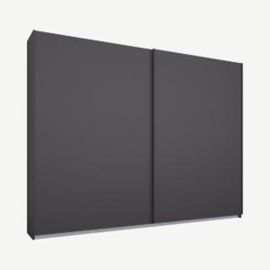 Malix kledingkast met 2 schuifdeuren, 225 cm, grafietgrijs frame, matte grafietgrijze deuren, standaard binnenkant
