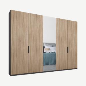 Caren Malix kledingkast met 5 deuren, 250 cm, grafietgrijs frame, eiken en spiegeldeuren, standaard