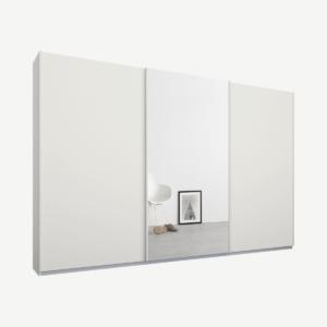 Malix kledingkast met 3 schuifdeuren, 270 cm wit frame, mat wit en spiegeldeuren, standaard binnenkant