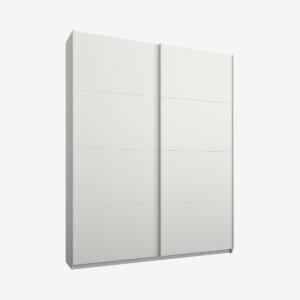 Malix tweedeurs kledingkast met schuifdeuren, 135 cm, wit frame, matwitte deuren, klassiek interieur