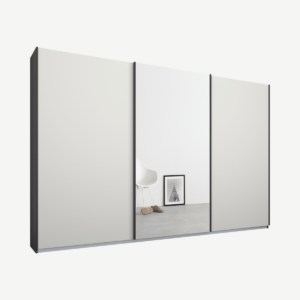 Malix kledingkast met 3 schuifdeuren, 270 cm grafietgrijs frame, mat wit en spiegeldeuren, standaard binnenkant